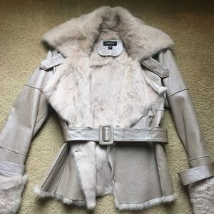 Bebe Vintage Leather and Fur Jacket